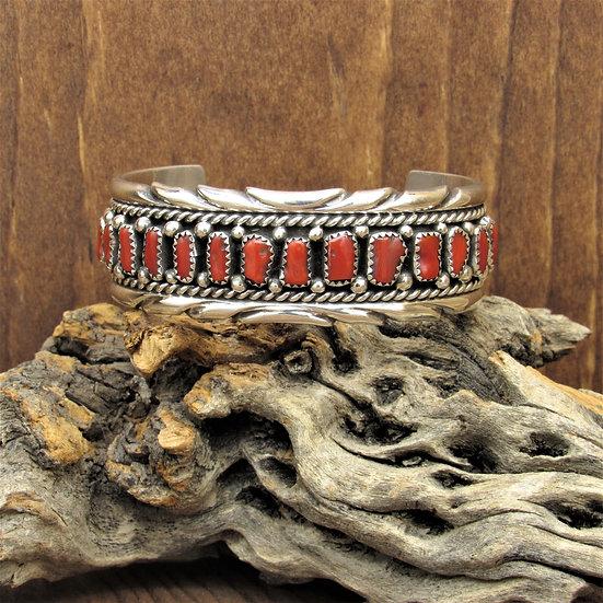 Navajo Sterling Silver Coral Cuff Bracelet