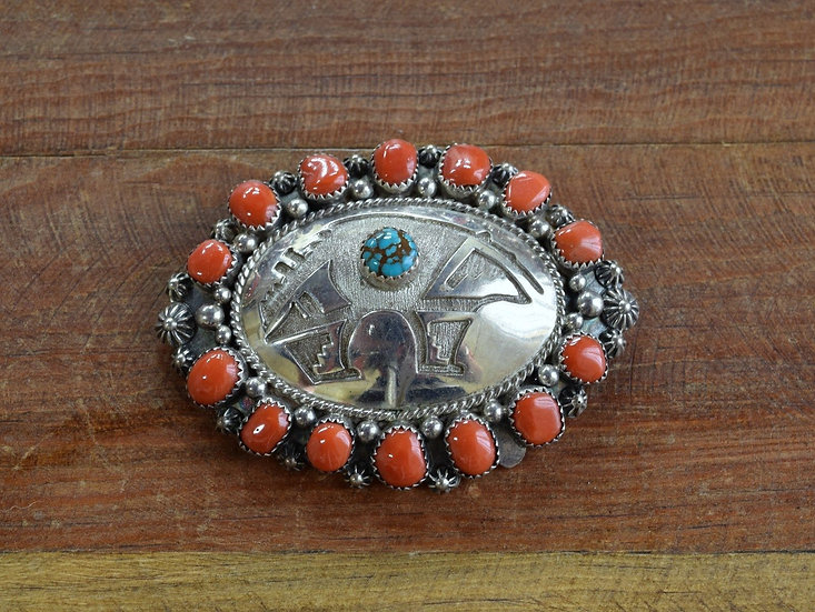 Vintage Navajo Sterling Silver Turquoise And Coral Bear Pin Pendant
