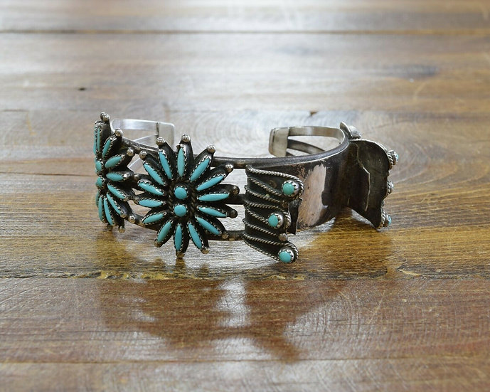 Vintage Turquoise Needle Point Watch Cuff Bracelet
