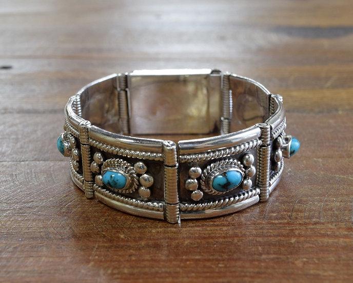 Vintage Southwestern Sterling Silver Turquoise Link Bracelet