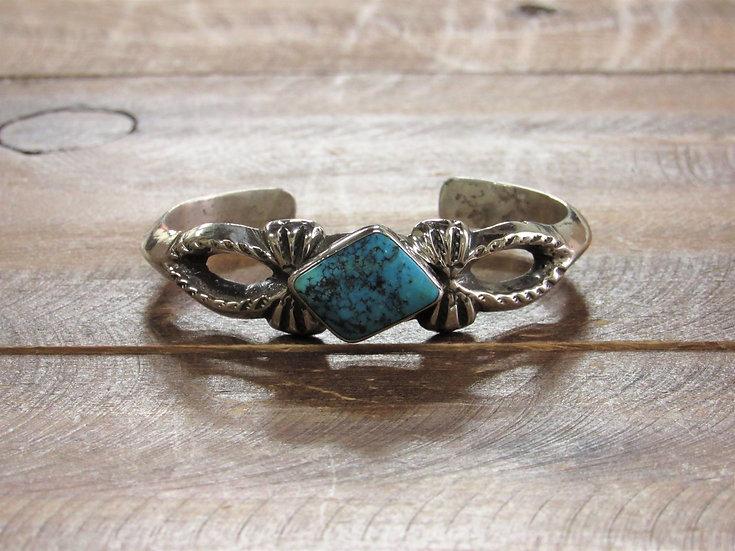 Vintage Navajo Sterling Silver Sandcast Diamond Shape Turquoise Cuff Bracelet