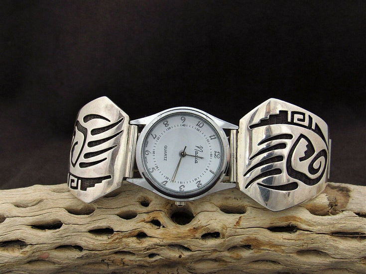 Hopi Sterling Silver Bear Paw Overlay Watch Band