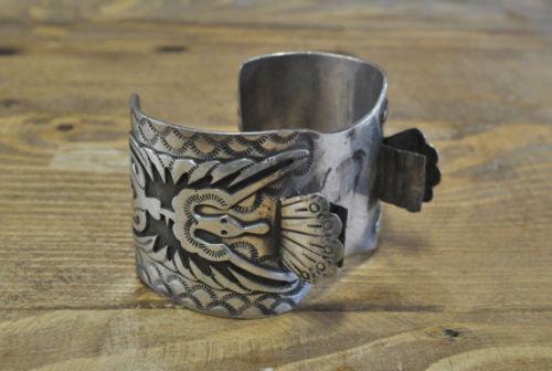 Vintage Navajo Sterling Silver Peyote Bird Watch Cuff