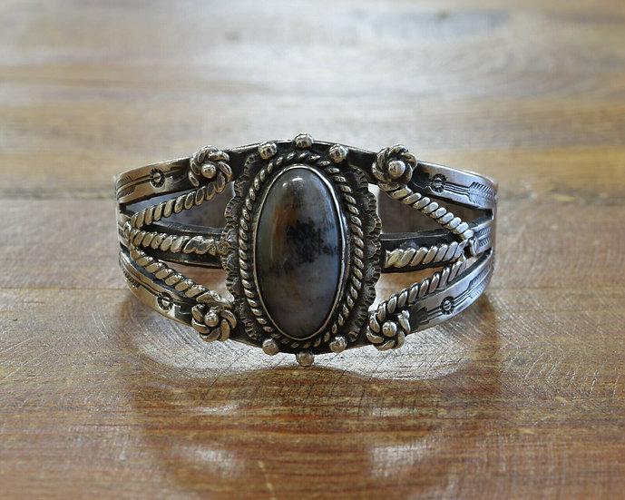 Vintage Sterling Silver Petrified Wood Cuff Bracelet