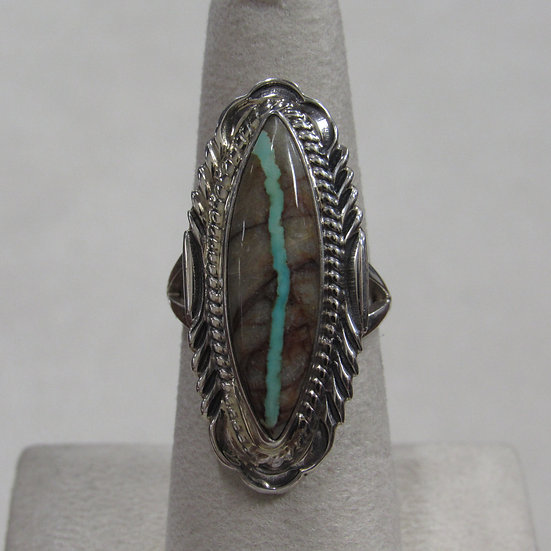 Victor Chee Sterling Silver and Boulder Turquoise Ring Size 6.75