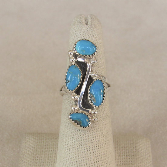 Sterling Silver and Four Turquoise Stone Ring by Roberta Begay