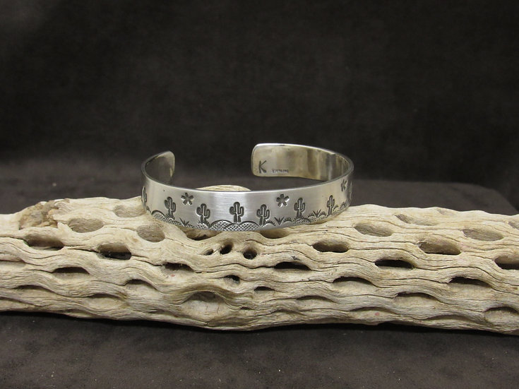 Navajo Sterling Silver Desert Scene Cuff Bracelet by Karlene Goodluck