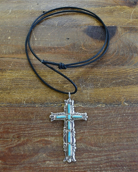 Vintage Zuni Turquoise Sterling Silver Cross Necklace