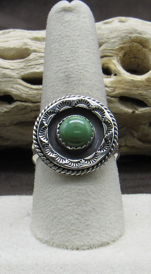 Green Turquoise and Sterling Silver Ring Size 9 1/4