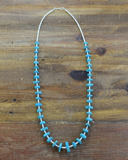 Vintage Turquoise and Clam Shell Beaded Necklace
