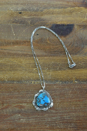 Vintage Navajo Sterling Silver Turquoise Necklace by Teddy Goodluck