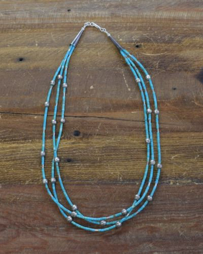 Navajo Turquoise Sterling Silver Beaded Necklace