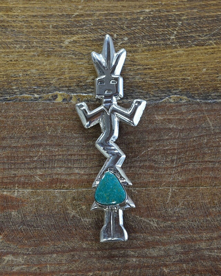 Navajo Sandcast Sterling Silver and Turquoise Yei Pin