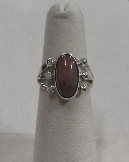 Southwest Sterling Silver Ring with Pink Tan Stone Size 5.75