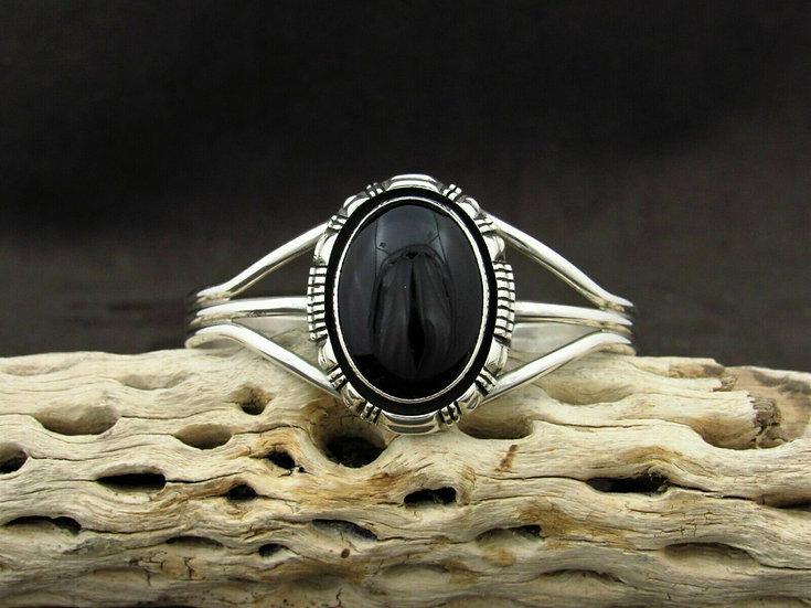 Large Sterling Silver Onyx Cuff Bracelet