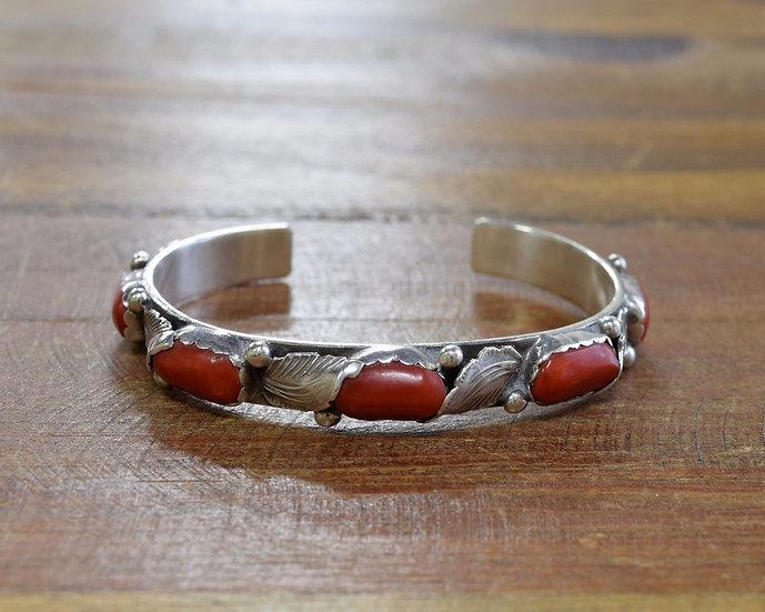 Vintage Navajo Sterling Silver Coral Cuff Bracelet