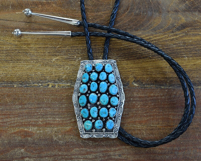 Vintage Southwestern Sterling Silver Turquoise Cluster Bolo Tie