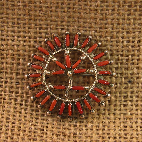 Zuni Needlepoint Coral Flower Pin