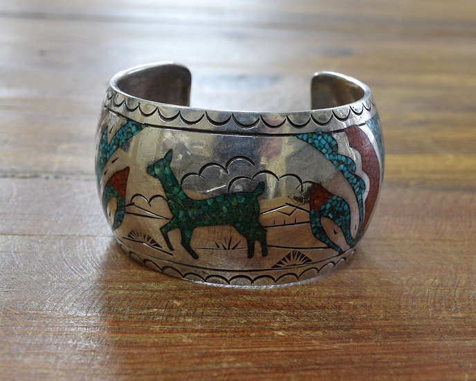 Vintage Navajo Sterling Silver Turquoise And Coral Chip Inlay Cuff Bracelet