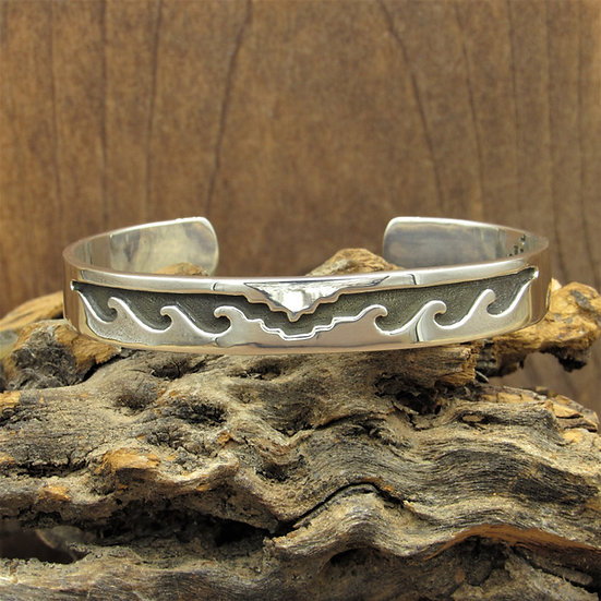 Vintage Mexican Sterling Silver Overlay Wave Cuff Bracelet