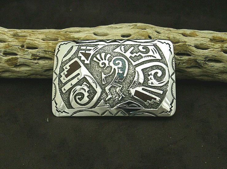 Sterling Silver Navajo Chip Inlay Kokopelli Belt Buckle by Raymond Begay