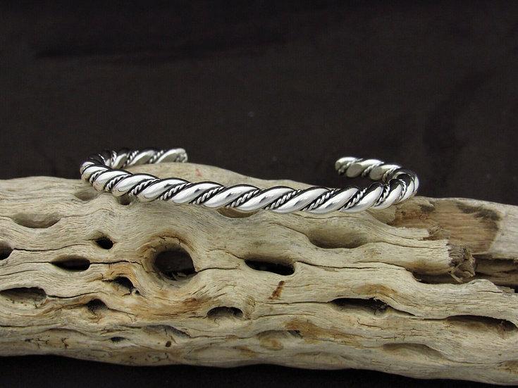 Southwestern Sterling Silver Rope Cuff Bracelet