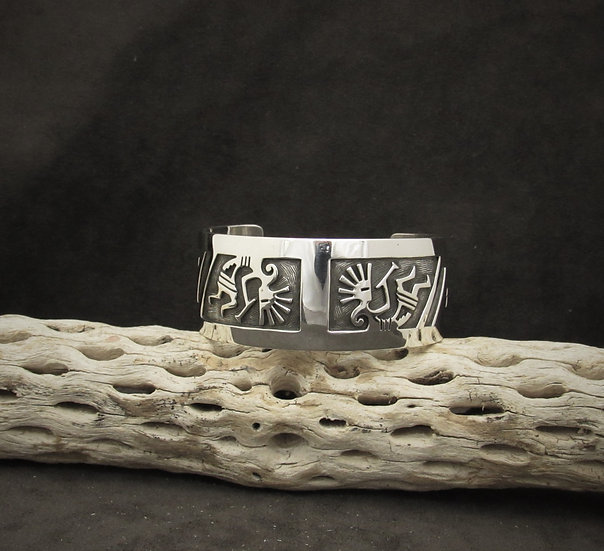 Sterling Silver Kokopelli Overlay Cuff Bracelet