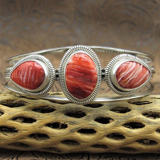 Navajo Sterling Silver Red Spiny Oyster Cuff Bracelet By Wydell Billie