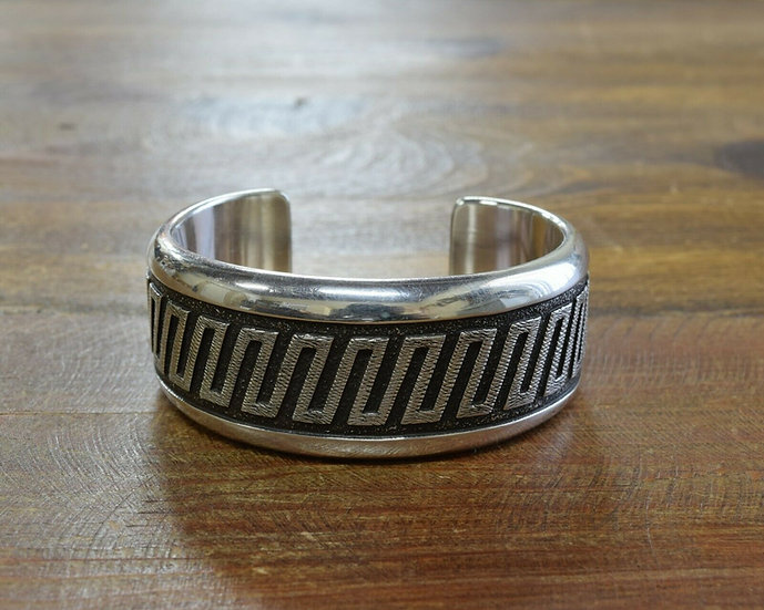 Sterling Silver Navajo Overlay Cuff Bracelet by Dan Jackson