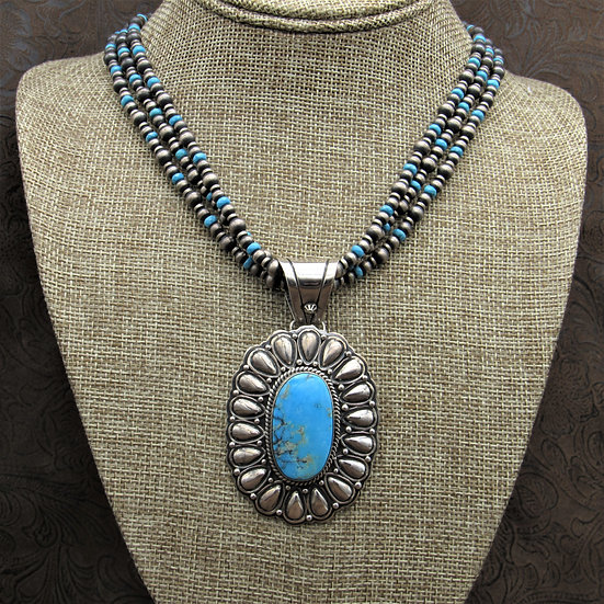 Three Strand Sterling Silver And Turquoise Concho Style Necklace