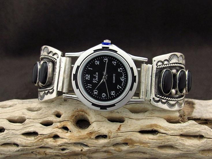 Southwestern Black Onyx Sterling Silver Watch Band