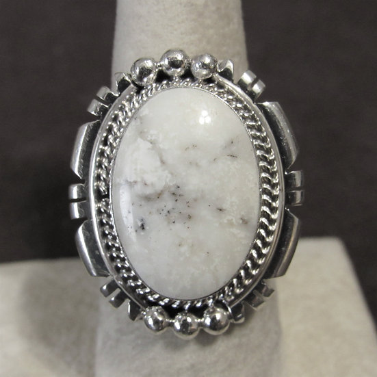 Large Sterling Silver and White Buffalo Ladies Ring Size 8