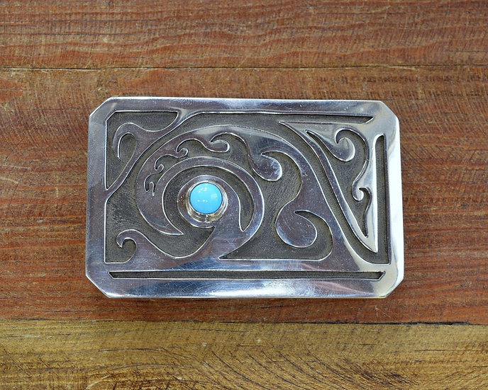 Turquoise and Sterling Silver Overlay Belt Buckle by Michael Whiteshadow