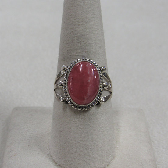 Southwest Sterling Silver and Rhodochrosite Ladies Ring Size 9