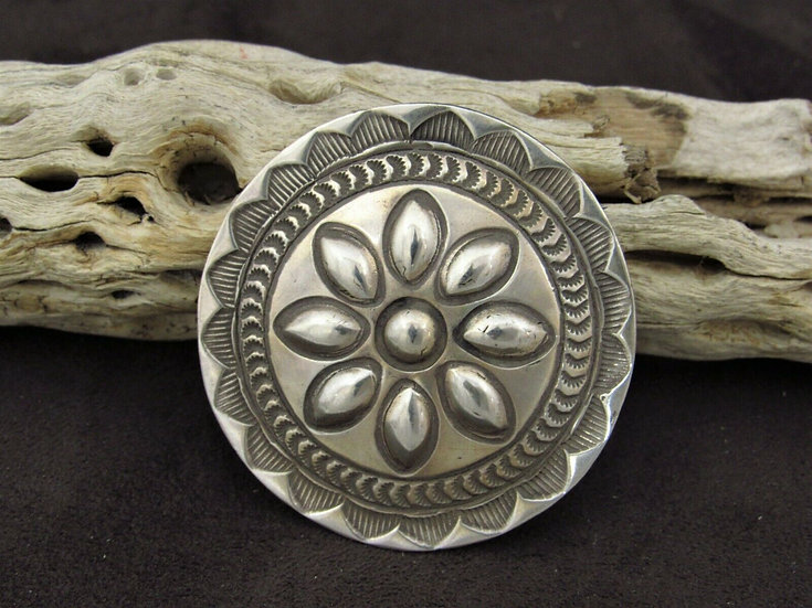 Sterling Silver Stamped Concho Pin