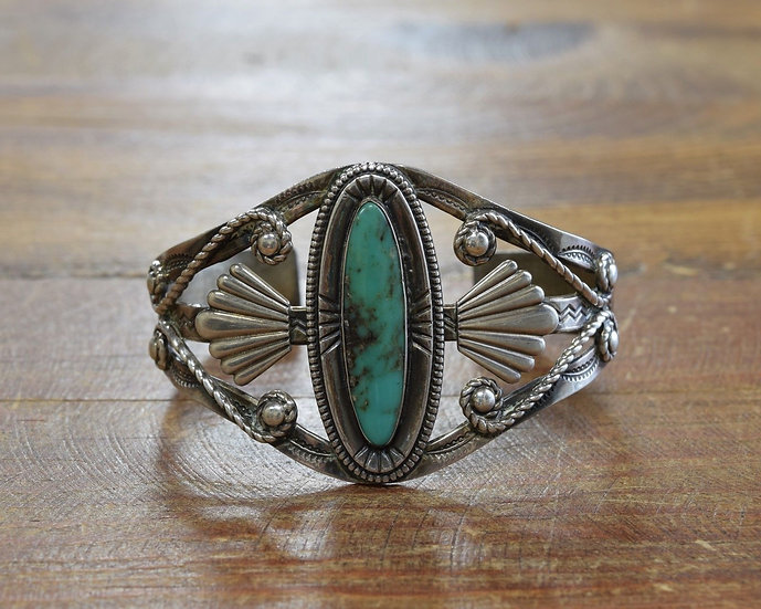 Vintage Sterling Silver and Turquoise Fred Harvey Era Cuff Bracelet