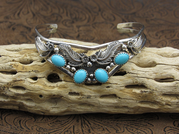 Sterling Silver Turquoise Sweater Cuff Bracelet by Running Bear Workshop