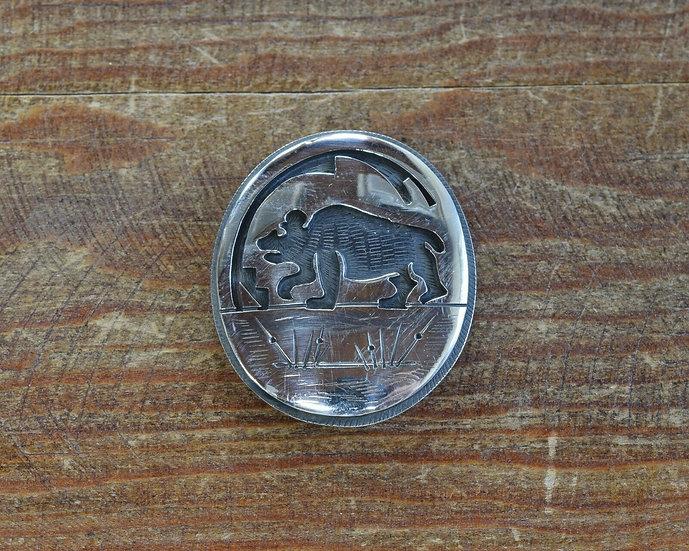 Southwestern Sterling Silver Bear Overlay Pin/ Pendant