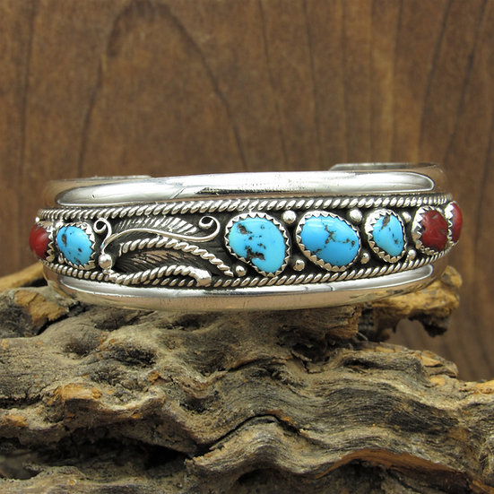 Vintage Navajo Turquoise and Coral Sterling Silver Cuff Bracelet
