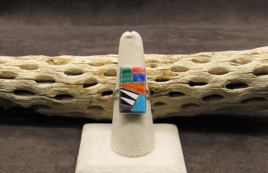 Navajo Rectangle Sterling Silver Multi-Stone Inlay Ring Size 8 1/2
