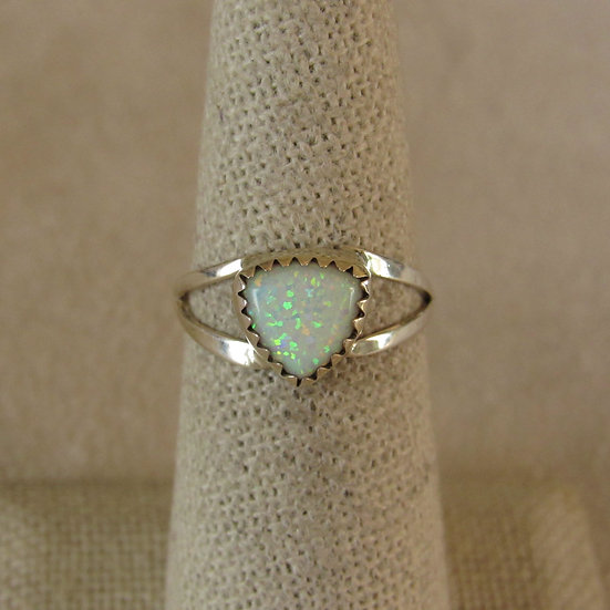 Sterling Silver and Triangle Lab Opal Ring Size 6.5
