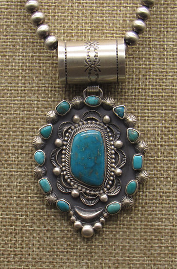 Stunning Navajo Turquoise Necklace with Oxidized Silver Beads by Tom Lewis
