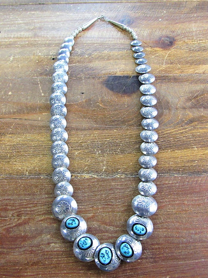 Vintage Navajo Stamped Pillow Bead Sterling Silver Necklace with Turquoise