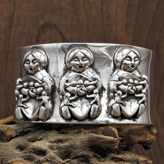 Vintage Navajo Sterling Silver Storyteller Cuff Bracelet
