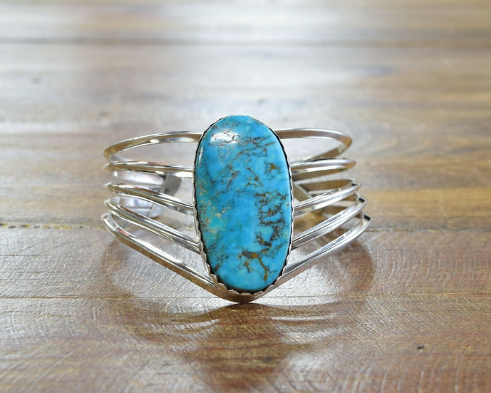 Navajo Turquoise Sterling Silver Cuff Bracelet by B Yazzie