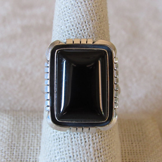 Black Onyx and Sterling Silver Size 8.25 Ring By Amos Begay