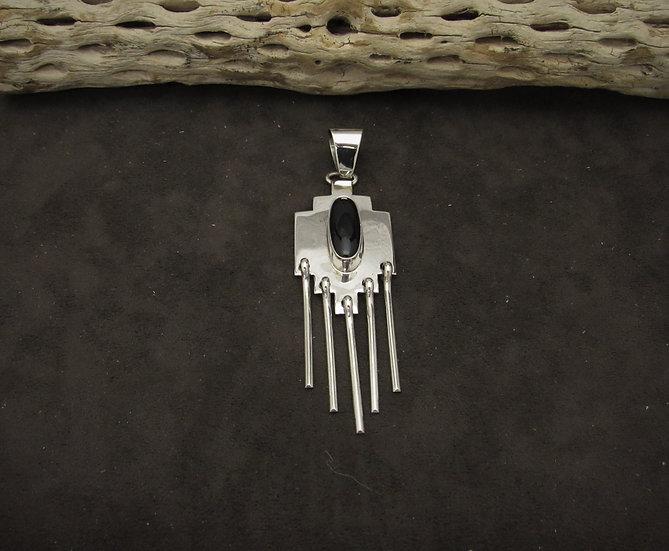 Sterling Silver Onyx Dangling Pendant