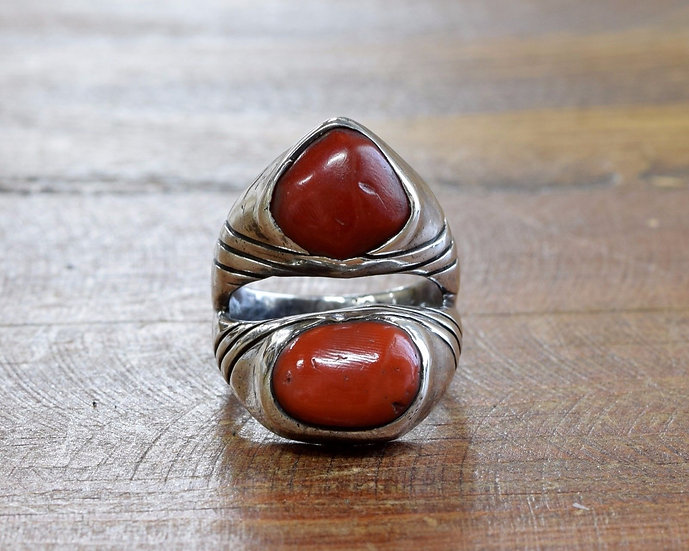Sterling Silver and Coral Signed MD Navajo Ring Size 11