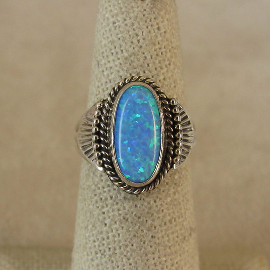 Sterling Silver and Lab Opal Ladies Ring Size 6 By Jan Mariano