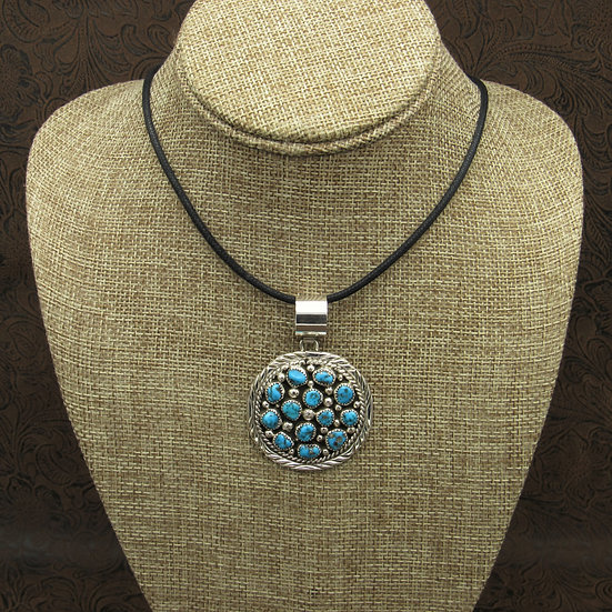 Sterling Silver Turquoise Cluster Pendant with Cord